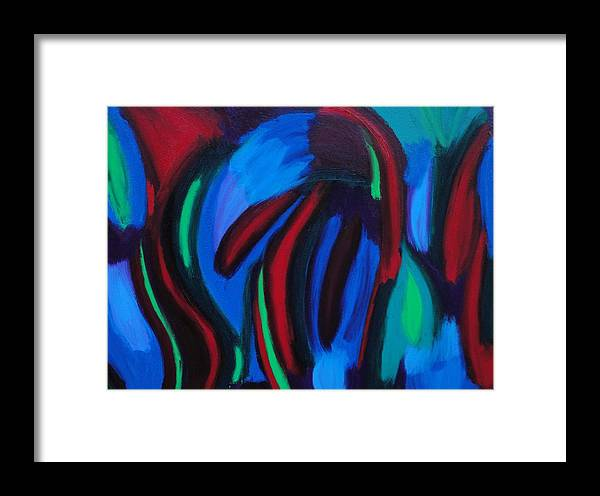 Blue Framed Print featuring the painting Cold Fusion by Elizabeth Dawson