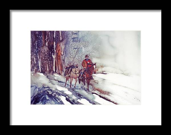 Horse And Rider Framed Print featuring the painting Cold Hunt by Lynne Parker