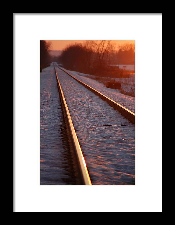 Railroda Framed Print featuring the photograph Cold Line Sunset by Jame Hayes