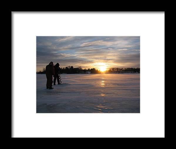 Lake Ice Sunrise People Ice Fishing Framed Print featuring the photograph Cold Morning by Christopher Brown