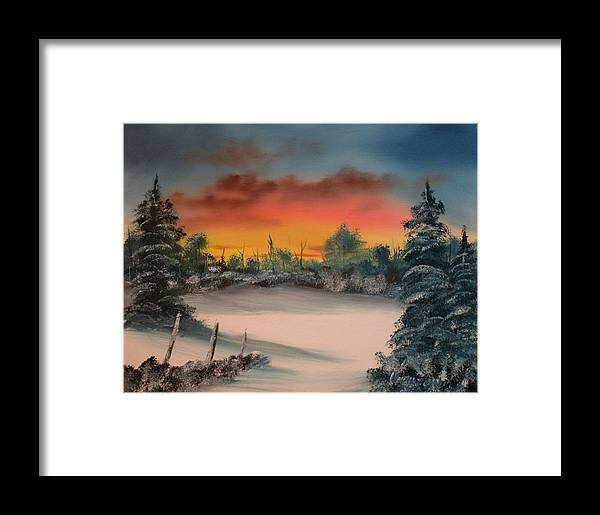 Oil Painting Framed Print featuring the painting Cold Morning Sunrise by Larry Hamilton