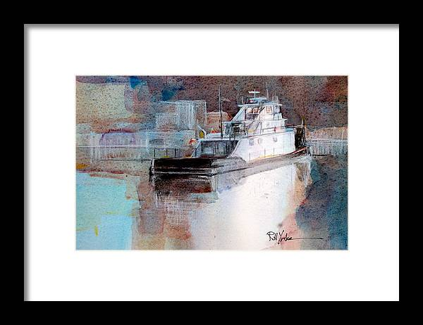 Barge Framed Print featuring the painting Cold River by Robert Yonke