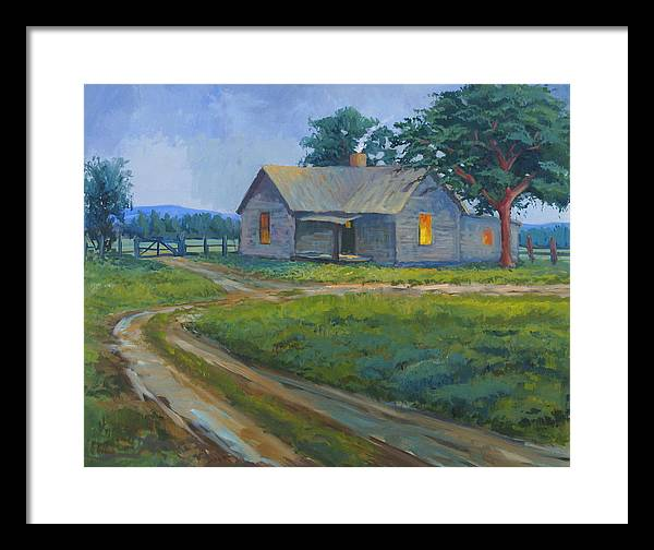 Landscape Framed Print featuring the painting Cold Wet Day by Bob Adams