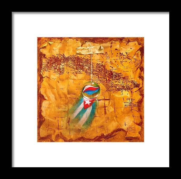 Marble Hanging By A String Framed Print featuring the painting Colgando En Un Hilito by Roger Calle