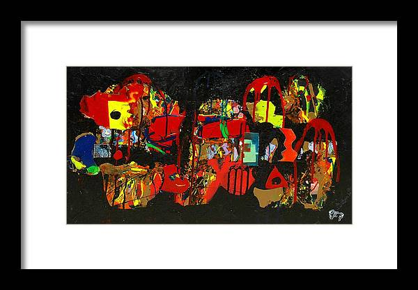 Abstract Framed Print featuring the painting Collage 1 by Paul Freidin