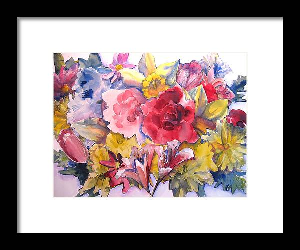 Collage Framed Print featuring the painting Collage Of Flowers by Joyce Kanyuk