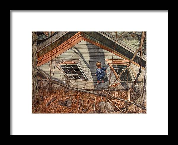 Children Framed Print featuring the painting Collapsed by Valerie Patterson