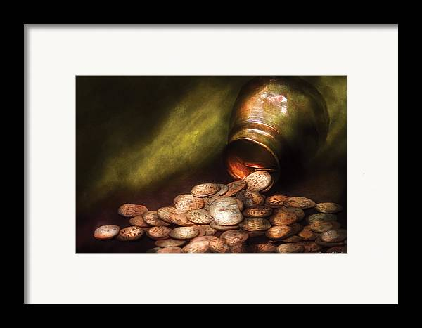 Savad Framed Print featuring the photograph Collector - Coin - Treasure Quest by Mike Savad