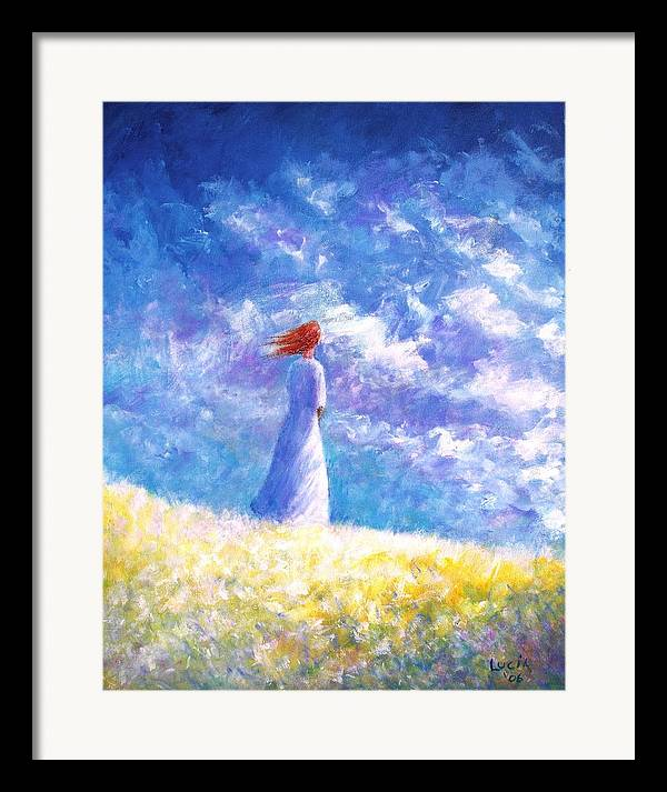 Ireland. Colleen. Young Woman. Sjyscapes. Framed Print featuring the print Colleem's Hill by Carl Lucia