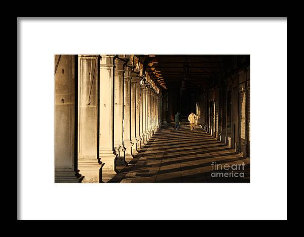 Venice Framed Print featuring the photograph Collonade At San Marco In Venice In The Morning by Michael Henderson