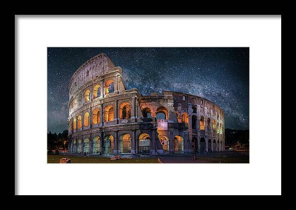 Rome Colosseum Milkyway Italy Brent Shavnore Framed Print featuring the digital art Colloseum Under The Stars by Brent Shavnore