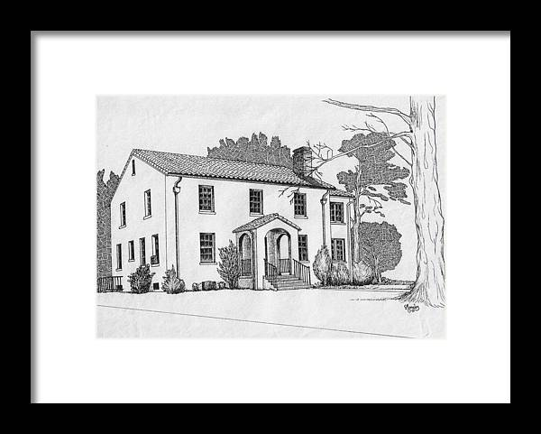 Drawing - Pen And Ink Framed Print featuring the drawing Colonel Quarters 2 - Fort Benning GA by Marco Morales