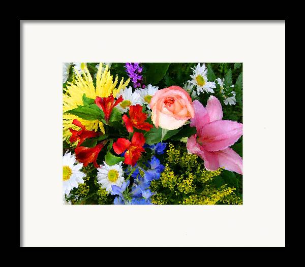 Flowers Framed Print featuring the digital art Color Explosion by Kristin Elmquist