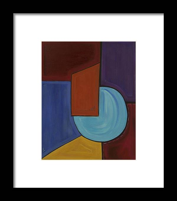 Geometric Abstract Framed Print featuring the painting Color Me Happy by Sandy Bostelman