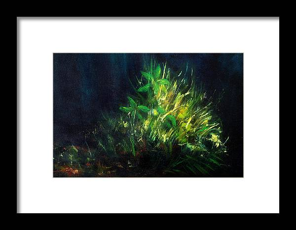 Art Framed Print featuring the painting Color Oil Painting Green Plant On Dark Blue Background by Jozef Klopacka