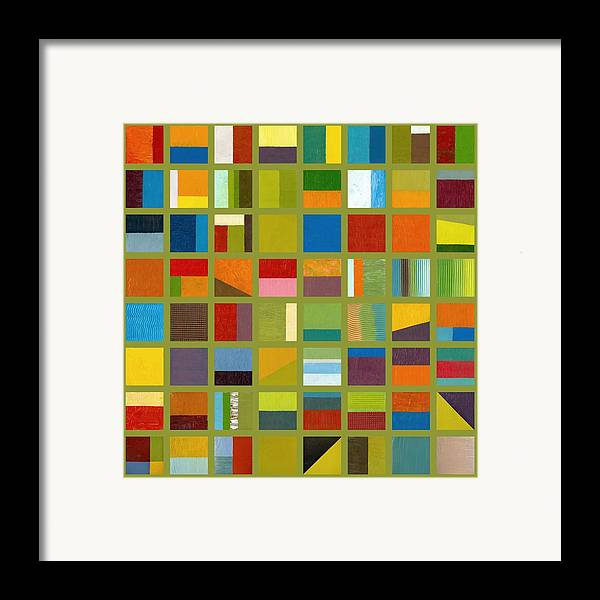 Abstract Framed Print featuring the painting Color Study Collage 64 by Michelle Calkins