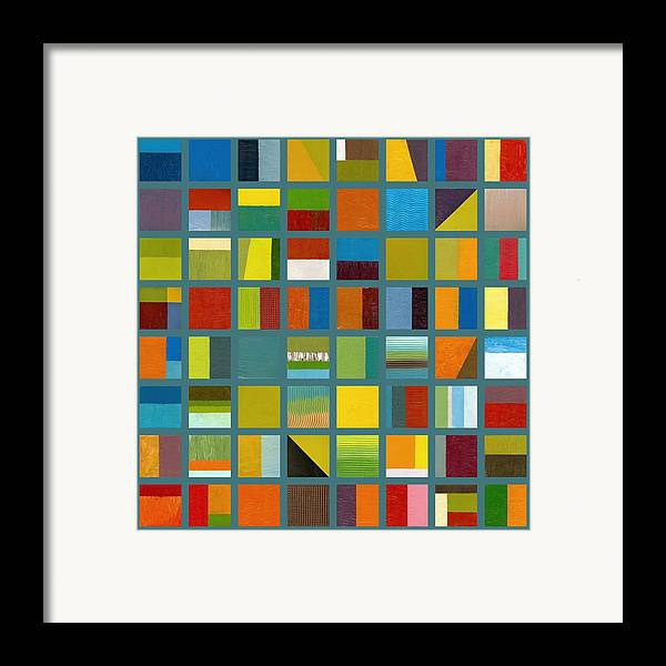 Abstract Framed Print featuring the painting Color Study Collage 67 by Michelle Calkins