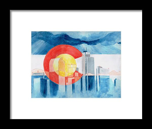 Colorado Framed Print featuring the painting Colorado Flag by Andrew Gillette
