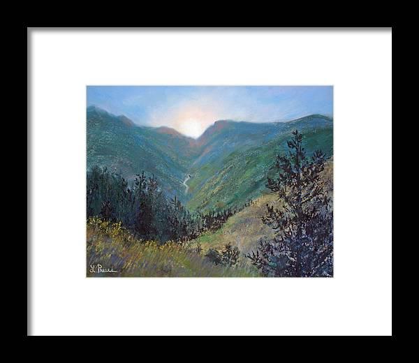 Colorado Framed Print featuring the pastel Colorado Highway by Linda Preece