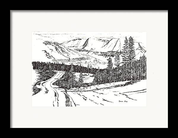 Colorado Mountains Snow Ink Drawing Framed Print featuring the drawing Colorado Mountain Foothills by Donn Kay