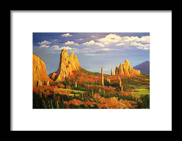 Connie Tom Framed Print featuring the painting Colorado Red Rocks by Connie Tom