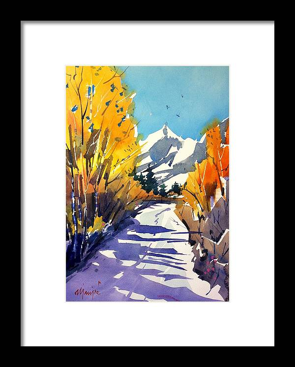 Colorado Winter Rocky Mountains Snow Framed Print featuring the painting Colorado Winter 1 by Ugljesa Janjic