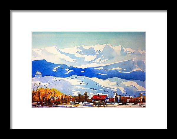 Colorado Winter Rocky Mountains Snow Framed Print featuring the painting Colorado Winter 3 by Ugljesa Janjic