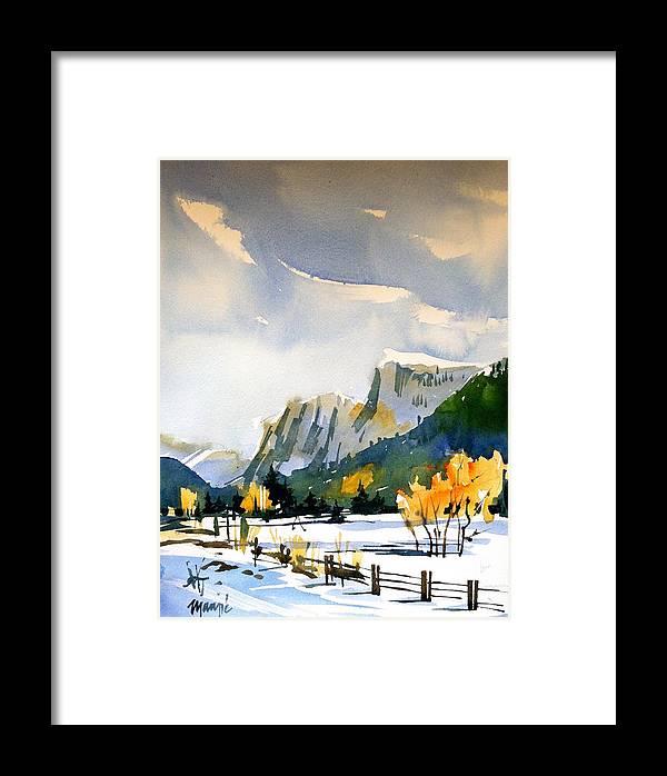 Colorado Winter Rocky Mountains Snow Framed Print featuring the painting Colorado Winter 5 by Ugljesa Janjic