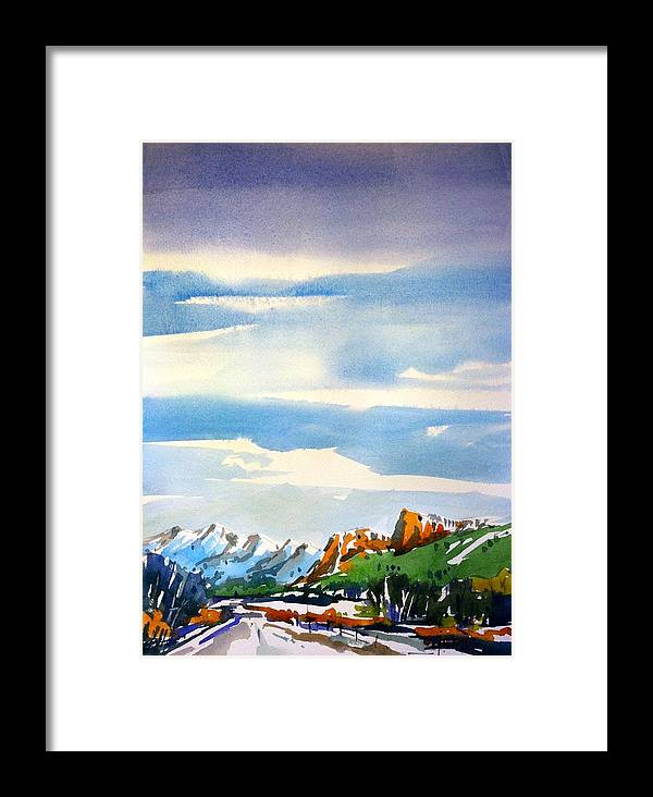 Colorado Winter Rocky Mountains Snow Framed Print featuring the painting Colorado Winter 7 by Ugljesa Janjic