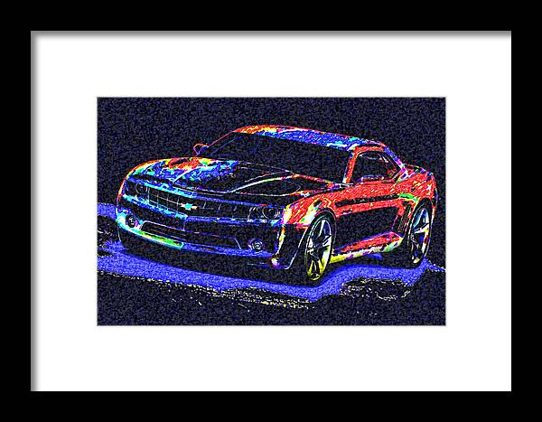 Framed Print featuring the digital art Colored Chevy Faa2 by Modified Image