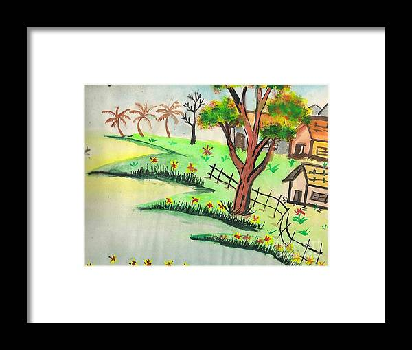 Beautiful Landscape Framed Print featuring the painting Colored Landscape by Tanmay Singh