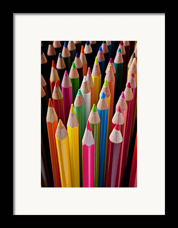 Pencil Framed Print featuring the photograph Colored Pencils by Garry Gay