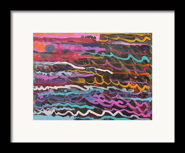 Abstract Framed Print featuring the mixed media Colored Waves by Sabrina Cataldo