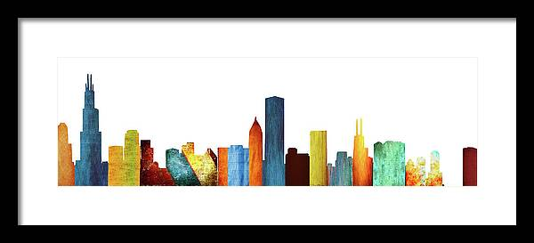 Colorful Chicago Skyline Framed Print by Art Spectrum