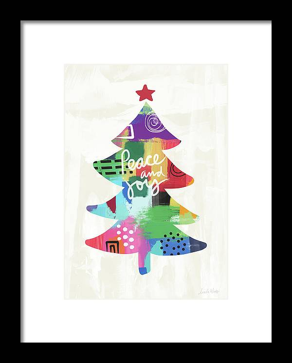 Christmas Framed Print featuring the painting Colorful Christmas Tree- Art by Linda Woods by Linda Woods