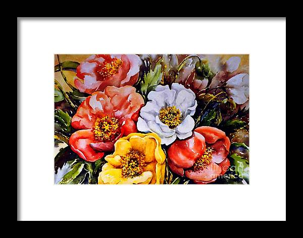 Beauty Of Flower Framed Print featuring the painting Colorful Corner 1 by Marta Styk