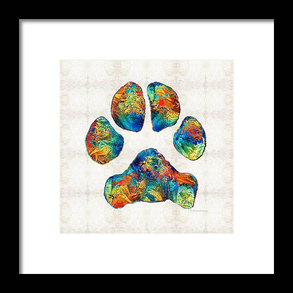7552a43c3d63 Paw Framed Print featuring the painting Colorful Dog Paw Print By Sharon  Cummings by Sharon Cummings