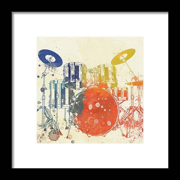 Colorful Drum Set Framed Print featuring the painting Colorful Drum Set by Dan Sproul
