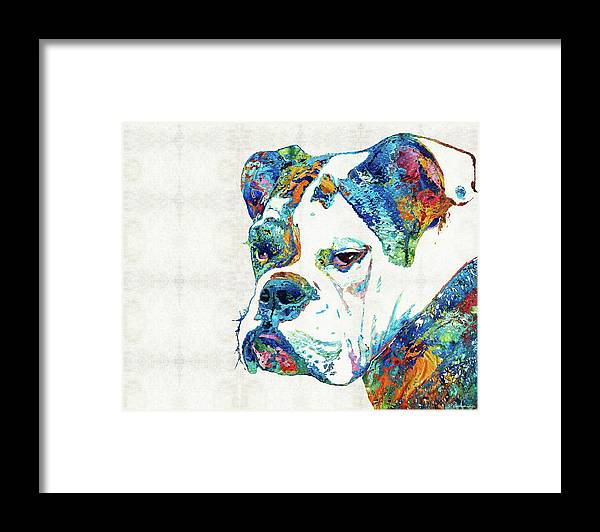 Bulldog Framed Print featuring the painting Colorful English Bulldog Art By Sharon Cummings by Sharon Cummings
