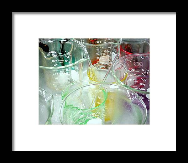 Chemistry Framed Print featuring the pyrography Colorful Experiment by Myrna Salaun