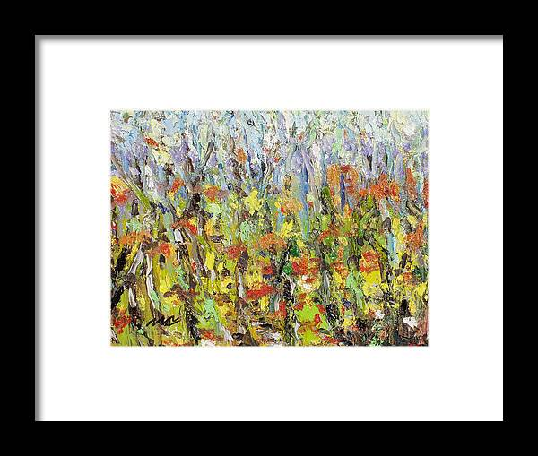 Autumn Abstract Paintings Framed Print featuring the painting Colorful Forest by Seon-Jeong Kim