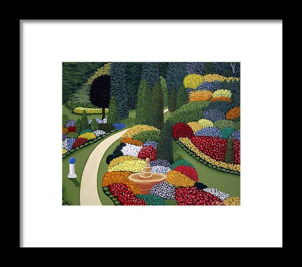 Landscape Paintings Framed Print featuring the painting Colorful Garden by Frederic Kohli