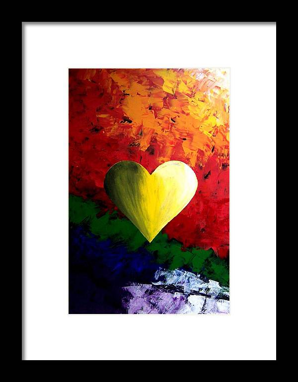 Colorful Framed Print featuring the painting Colorful Heart Valentine Valentine's Day by Teo Alfonso