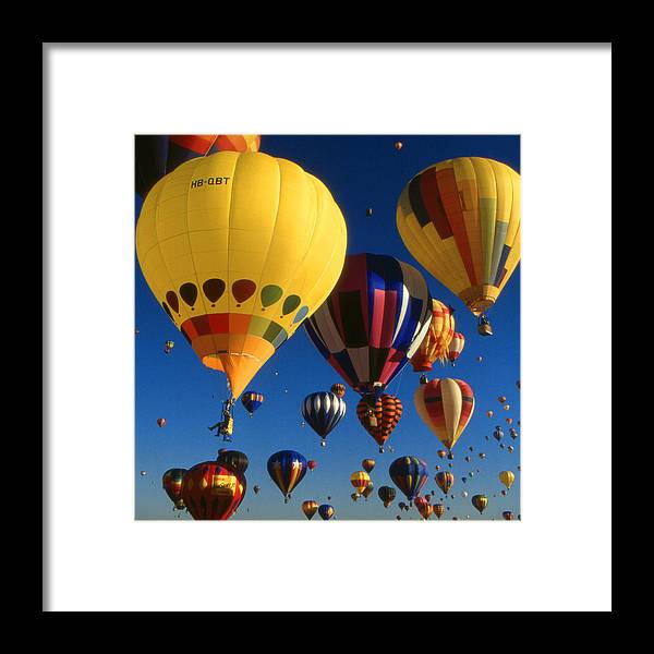 Balloons Framed Print featuring the photograph Colorful Hot Air Balloons - Mass Ascension Photo by Peter Potter