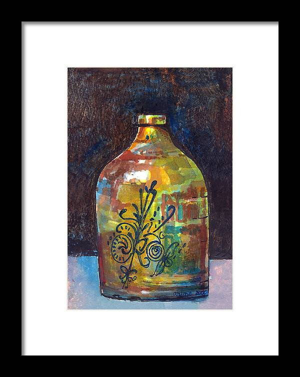 Jug Framed Print featuring the painting Colorful Jug by Arline Wagner