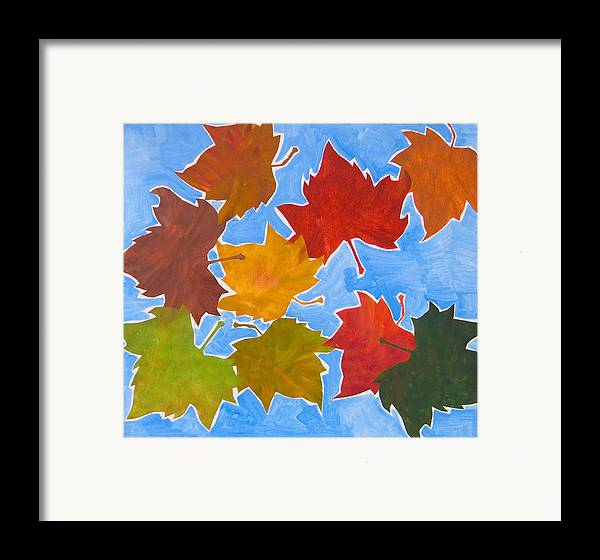 Leaf Framed Print featuring the painting Colorful Leaves by Vitali Komarov