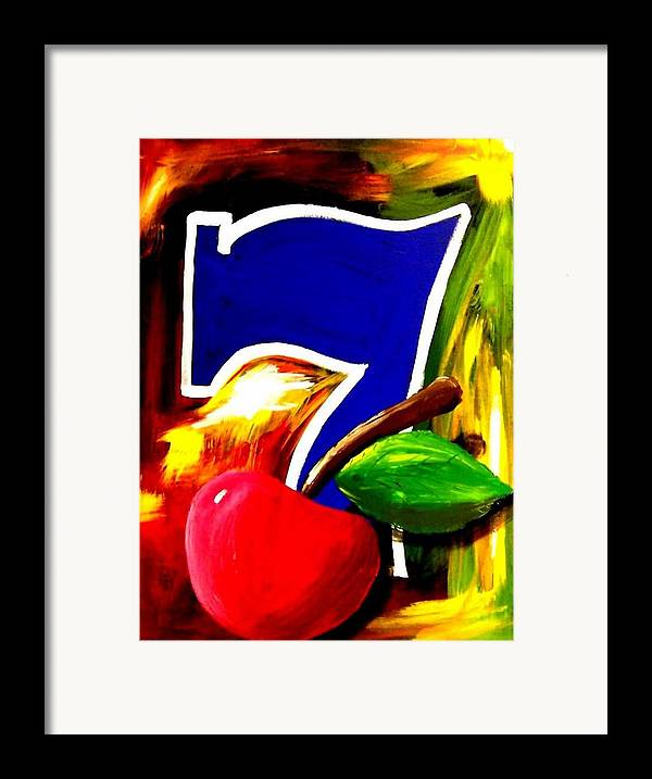 Slot Machine Framed Print featuring the painting Colorful Lucky Seven Slot Machine Casino Decor With Cherry by Teo Alfonso