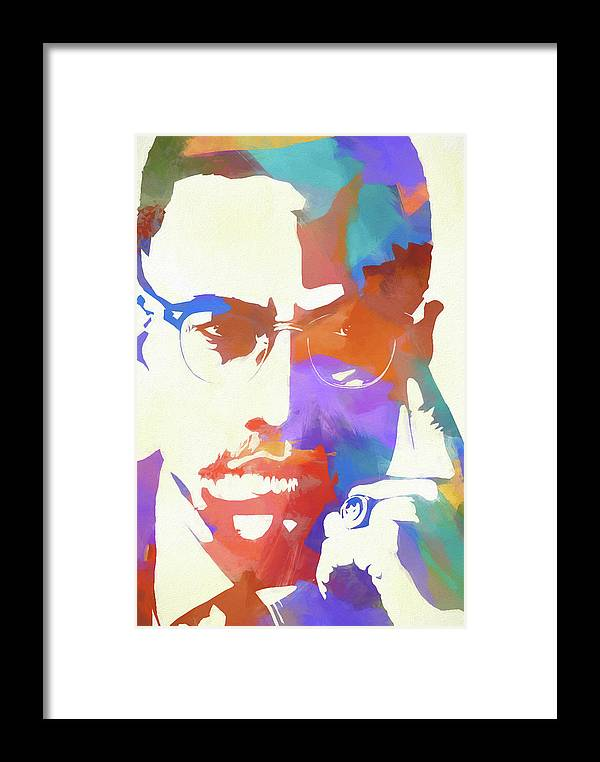 Colorful Malcolm X Framed Print featuring the painting Colorful Malcolm X by Dan Sproul