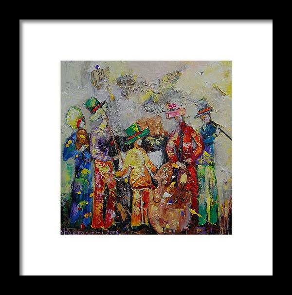Framed Print featuring the painting Colorful Music by Sari Haapaniemi