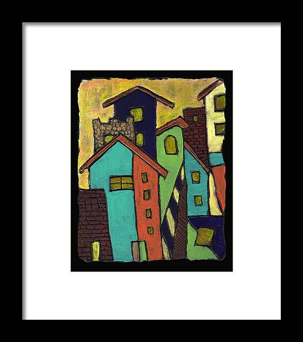 City Framed Print featuring the painting Colorful Neighborhood by Wayne Potrafka